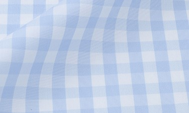 Checked azure blue Poplin  - Easy iron