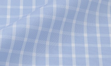 Checked sky blue Poplin  - Easy iron