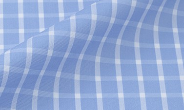 Checked blue Poplin  - Easy iron