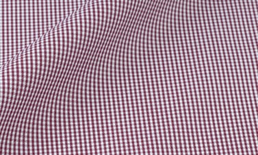 Checked bordeaux Poplin  - Easy iron